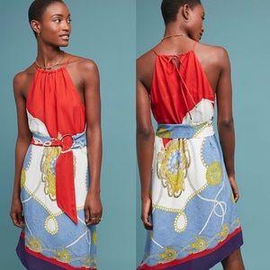 NWT $180 Anthropologie Onsen Scarf-Printed Dress S